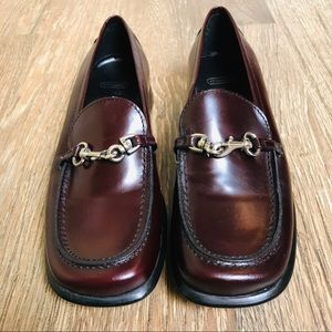 Coach burgundy leather loafers with silver clasp